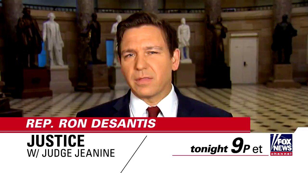 TONIGHT on 'Justice,' @JudgeJeanine talks to @RonDeSantisFL - Tune in at 9p ET on Fox News Channel! https://t.co/x6TXkSwRX4