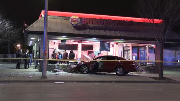 Car hits pedestrian, crashes into West Side Burger King