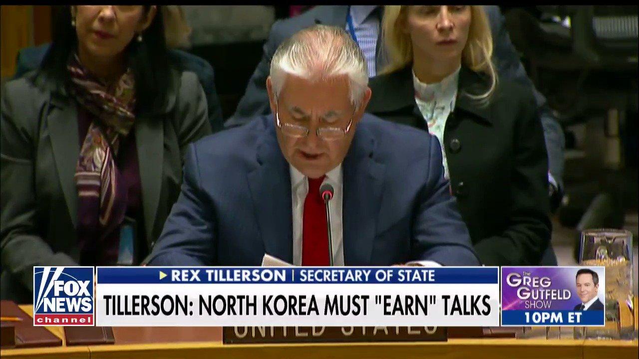 Secretary of State Rex Tillerson: North Korea must 'earn' talks; @BryanLlenas reports. https://t.co/Z8SC4B0GAM
