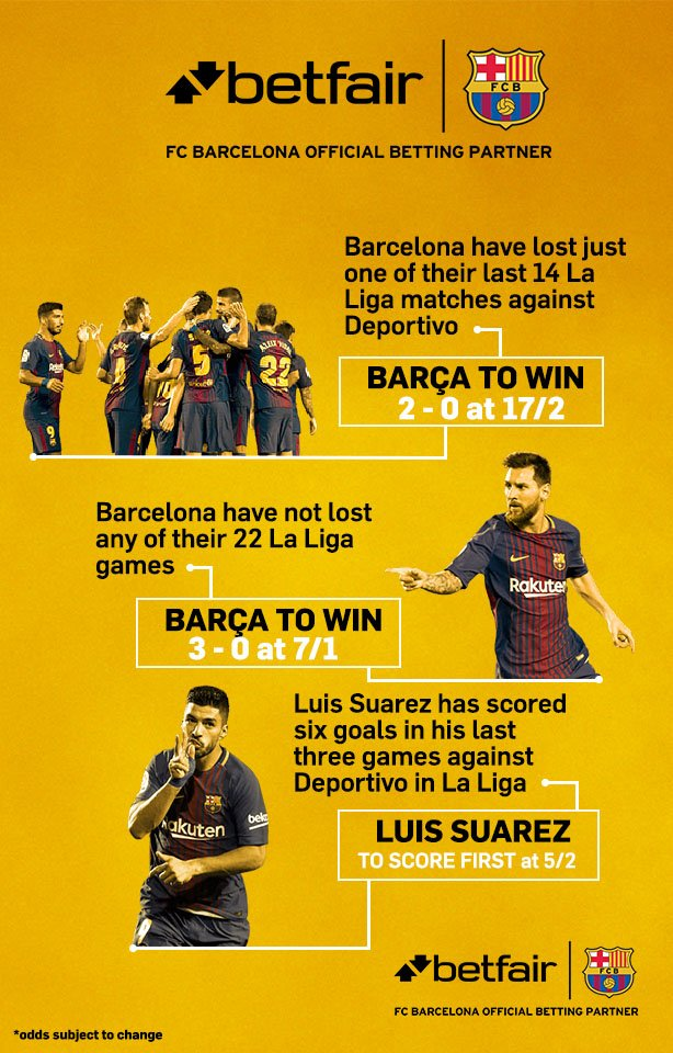⚽️ #BarçaDepor Stats from @Betfair ahead of the game! Get all the odds here �� https://t.co/o6unYzDaQa https://t.co/zXJzxIaDNo