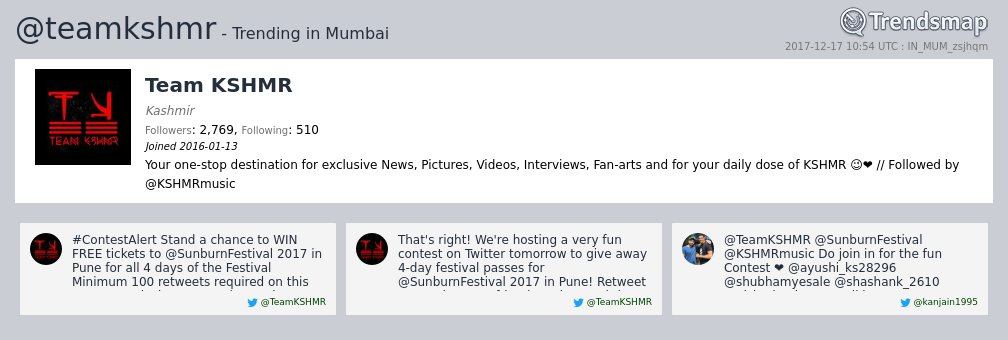 Team KSHMR, @teamkshmr is now trending in #Mumbai  https://t.co/snrD968WxD https://t.c ...