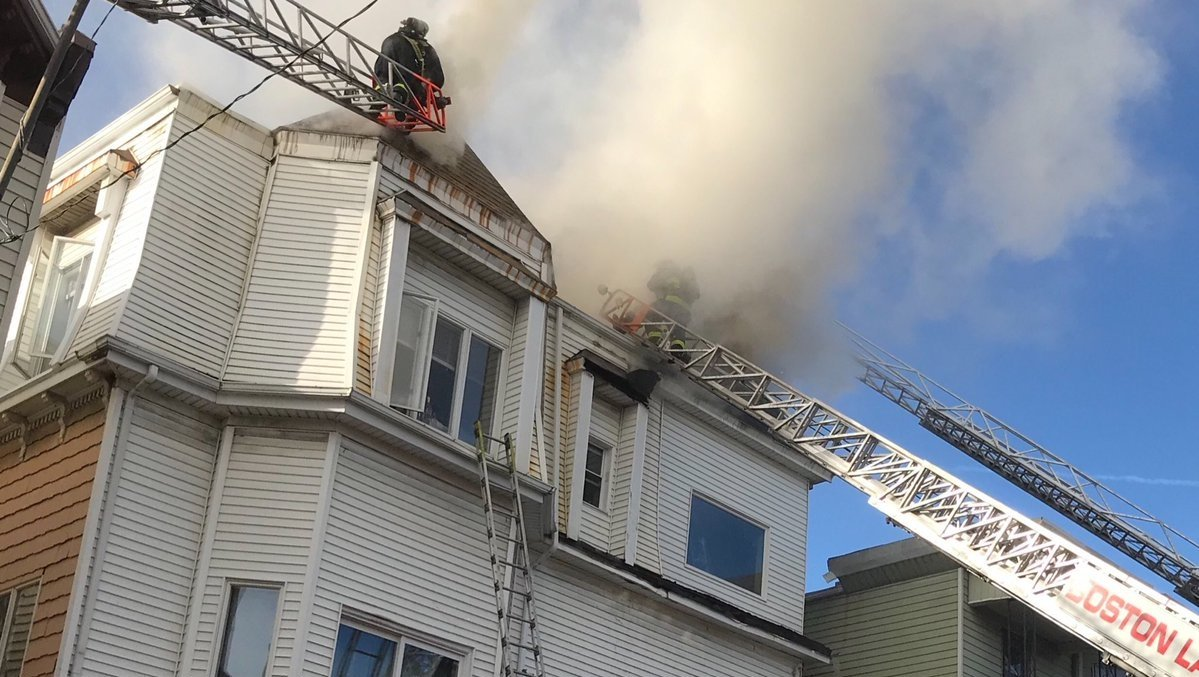3-alarm fire rips through roof of East Boston home