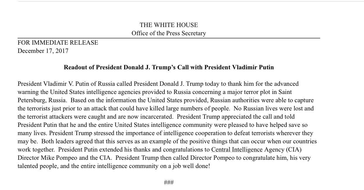 Readout of President Trump's call with President Putin-> https://t.co/tIM6sBrUb4