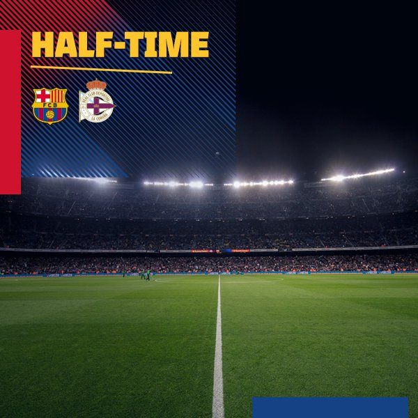 �� AT THE BREAK ⚽️ #BarçaDepor (2-0) ↪️ @LuisSuarez9, @paulinhop8 ���� #ForçaBarça https://t.co/sROzXTd9k5