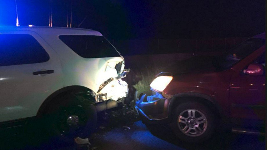 Suspected DUI driver hits state patrol car