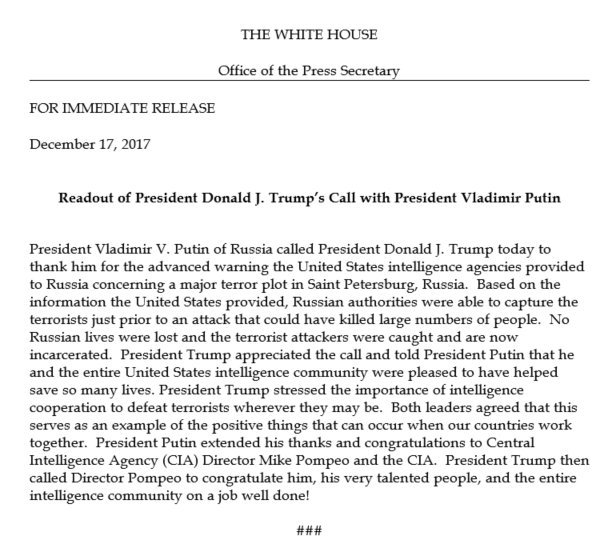 Putin thanks @POTUS by phone for info that thwarted terror attack, @WhiteHouse confirms https://t.co/GqVQdk3Fgd https://t.co/HT0VpD7GyV