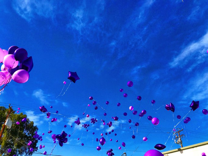 1 pic. Beautiful Vigil today in memory of @YuriLuv you will be missed! 💜🦄🔮We released purple balloons