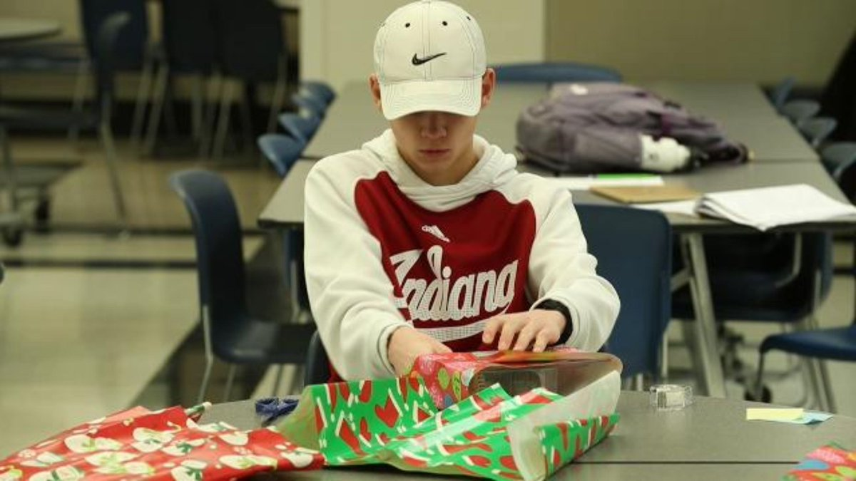 Carmel HS kids wrap gifts to benefit Riley Hospital for Children