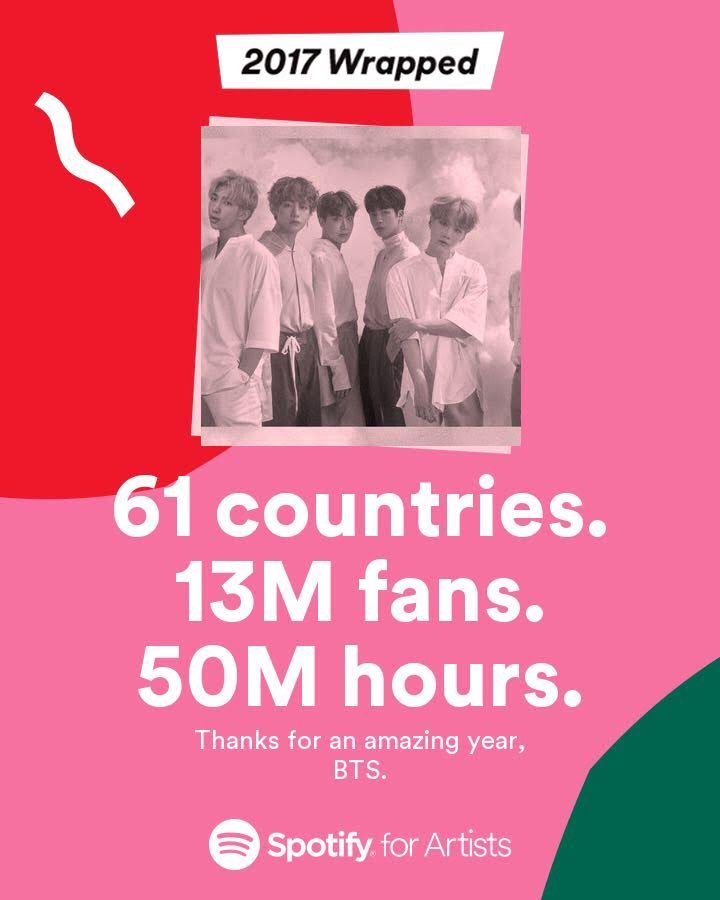 We had a great year of 2017 and thank you #ARMYs all over the world for listening on @Spotify https://t.co/M9tyuCpdDR