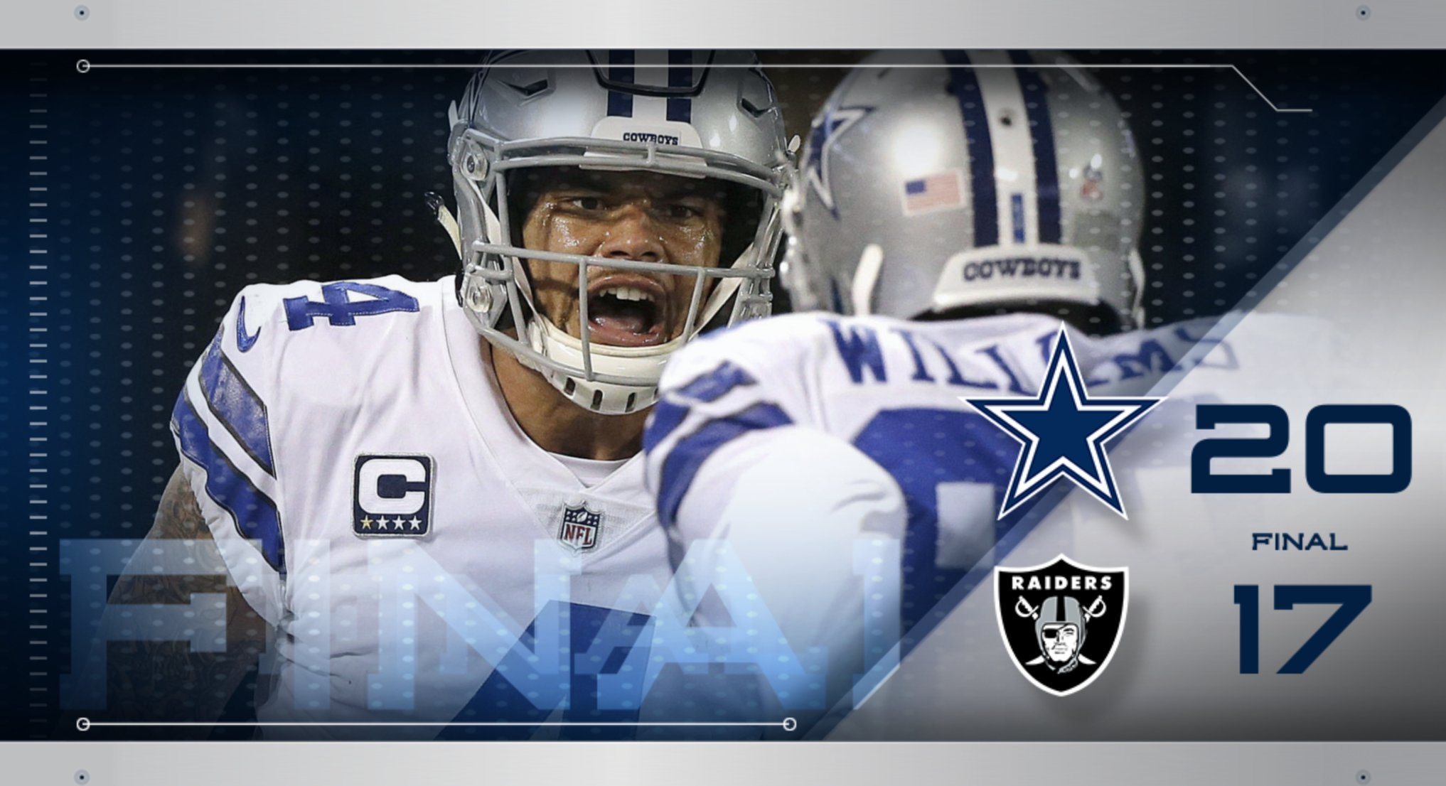 #DallasCowboys get the W in a thrilling @SNFonNBC #DALvsOAK https://t.co/vAvwNueRy8