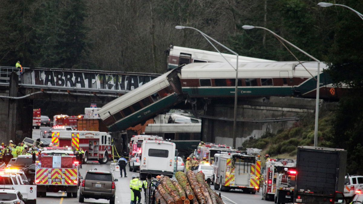 Amtrak train hurtles off overpass; at least 6 people killed