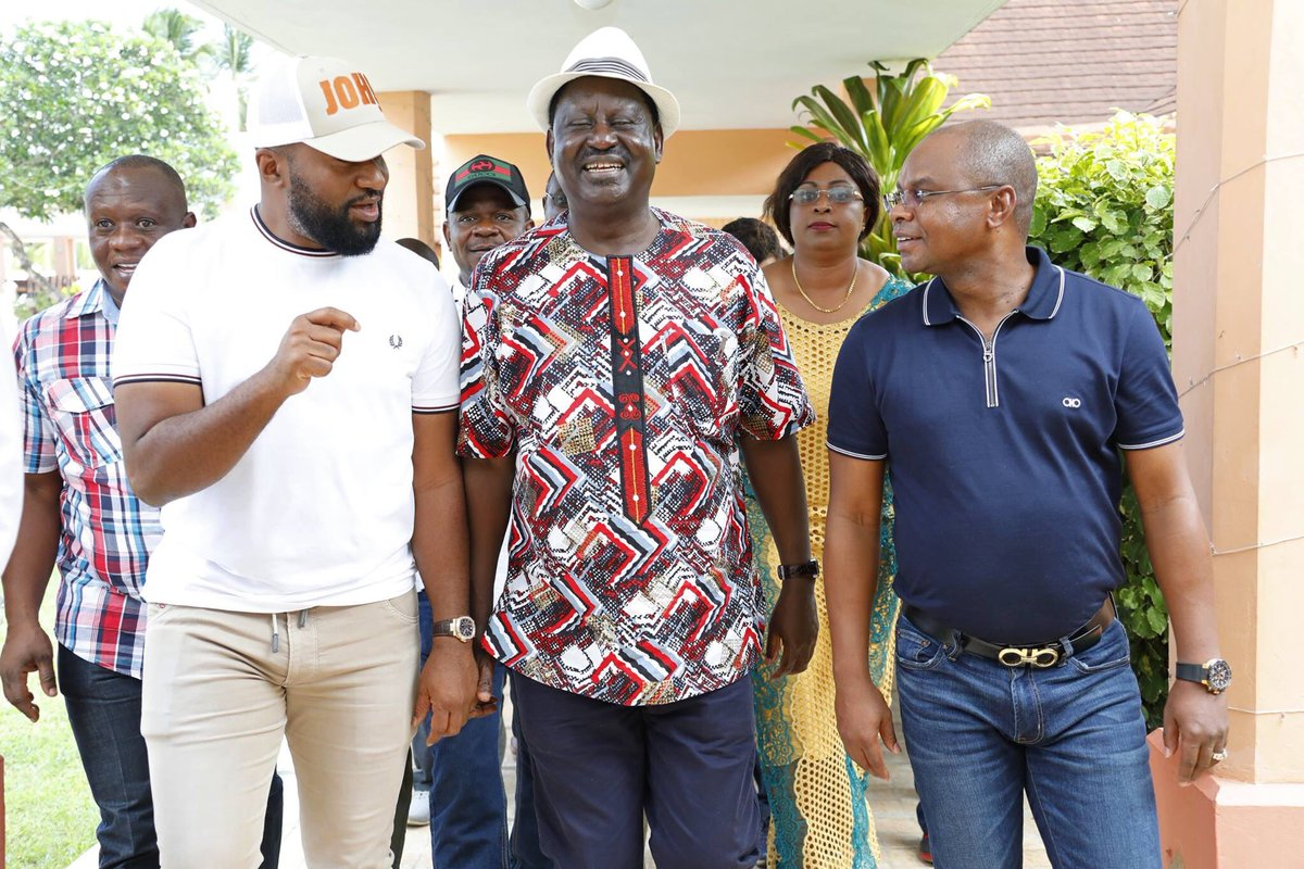 Raila nearly sworn in at Kilifi , pledges to hold up Bible later