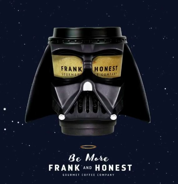 May the coffee be with you this morning! Drop in store and grab yours #FrankandHonest #Starwars https://t.co/f1CeZUfVjm