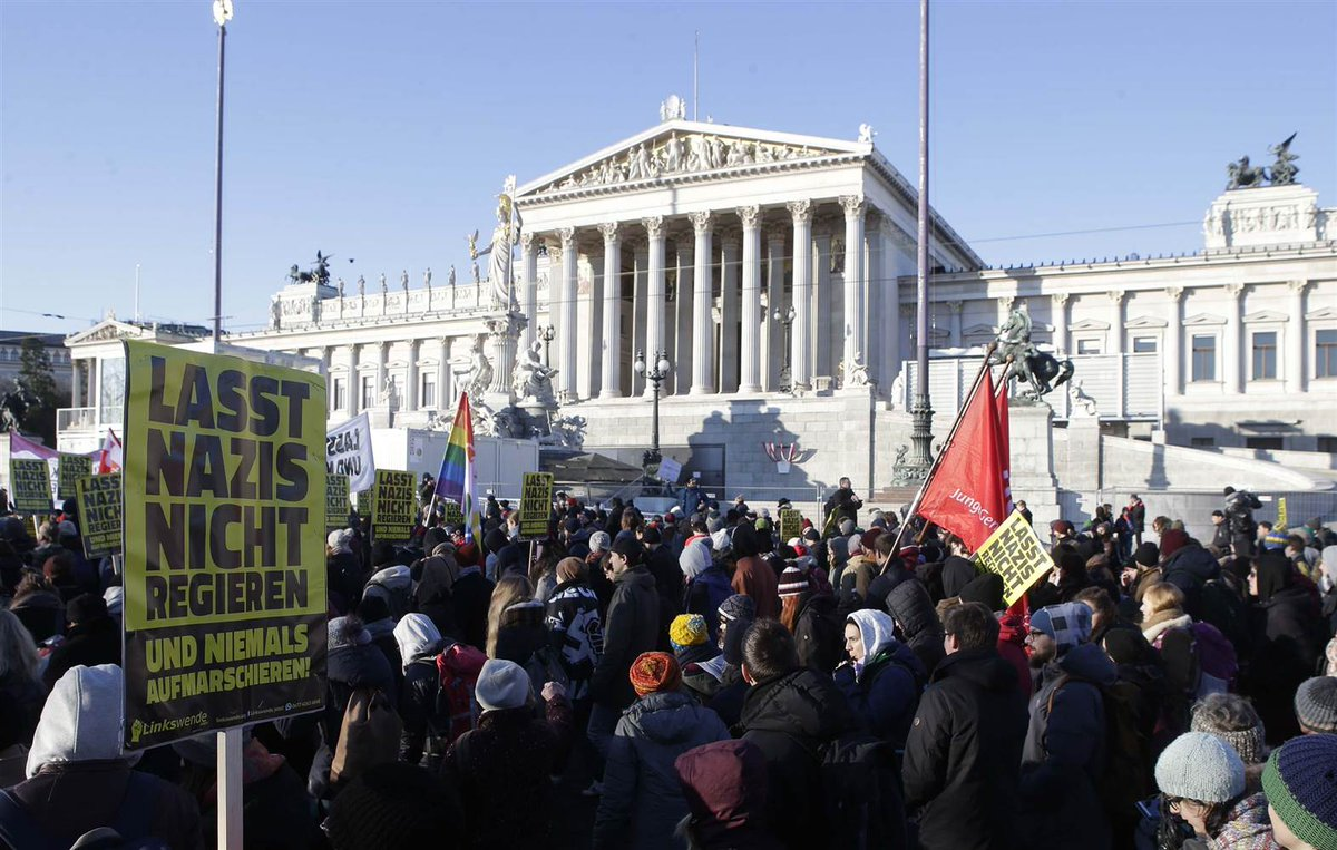 Thousands protest as far-right party joins Austrian government