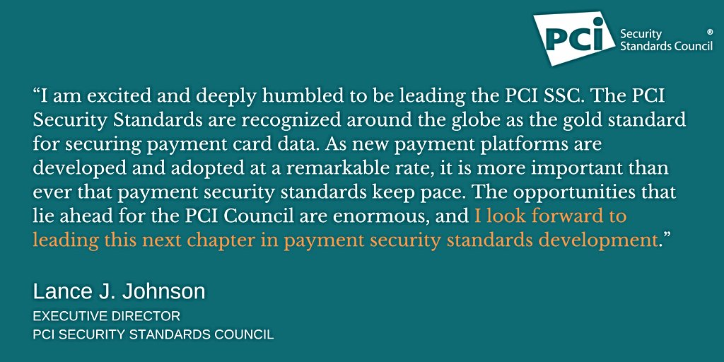 test Twitter Media - We are happy to announce that Lance J. Johnson has been named the new Executive Director of the PCI Security Standards Council:  https://t.co/SKfkN98WD4 https://t.co/RsbUDuNQIz