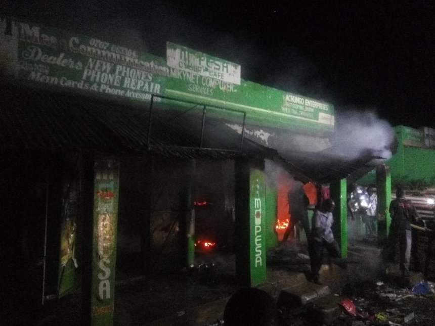 Four shops destroyed after night fire in Siaya town
