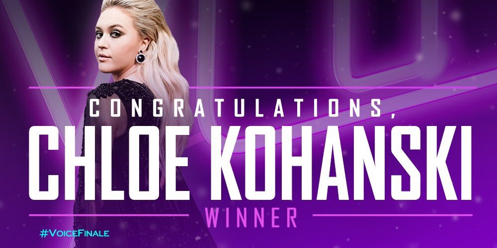 We did it!!! Congrats @ChloeKohanski!!! #TeamBlake @NBCTheVoice https://t.co/Vi6kmVQRwl
