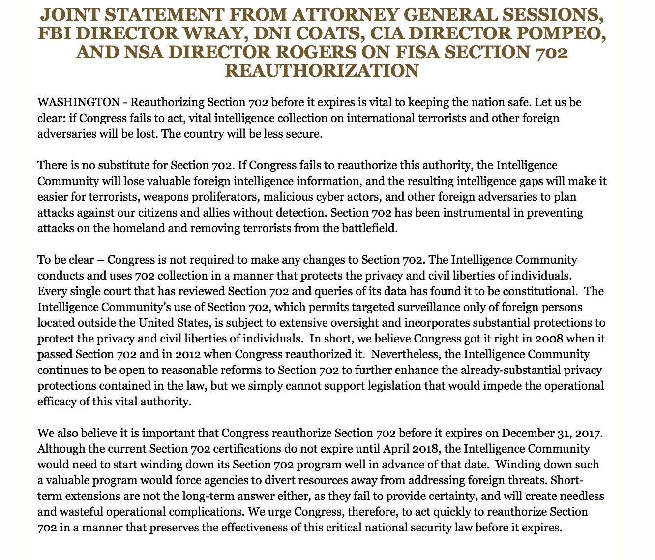 Sessions, Wray, Coats, Rogers, and Pompeo joint letter on Section 702 https://t.co/VgszC18HM6