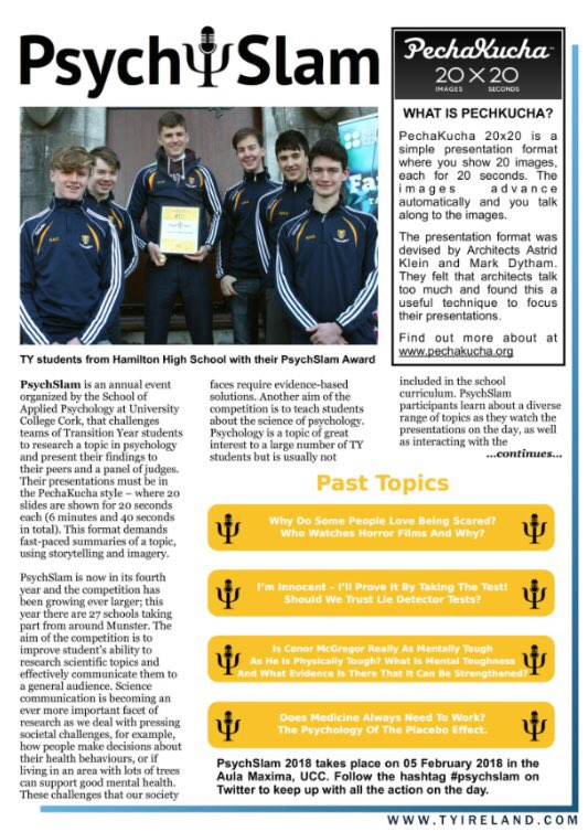 test Twitter Media - We are delighted that @ucc #psychslam is featured in @tyyearireland TY Update magazine's December issue. We're looking forward to PsychSlam 2018 on February 5th! https://t.co/otIg4CLaY0 https://t.co/T81GXQD9VJ