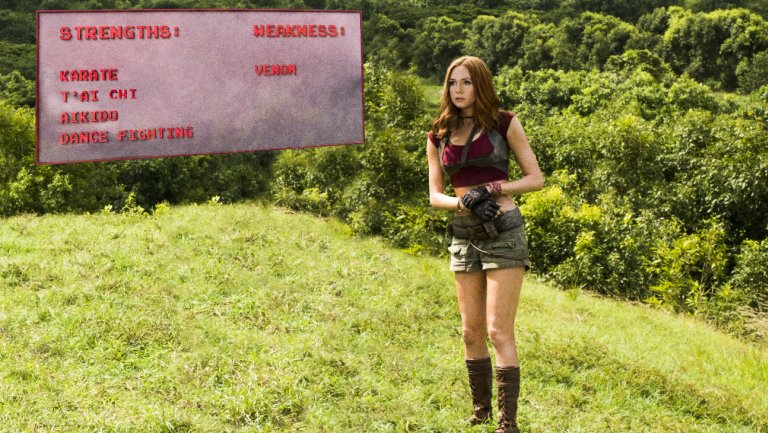 .@KarenGillan trained harder for Jumanji than her Marvel movies