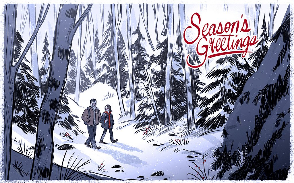 A rare, quiet stroll through a snow-blanketed forest. Season's greetings from @Naughty_Dog: https://t.co/uJWshU7tge https://t.co/bywGKpM678