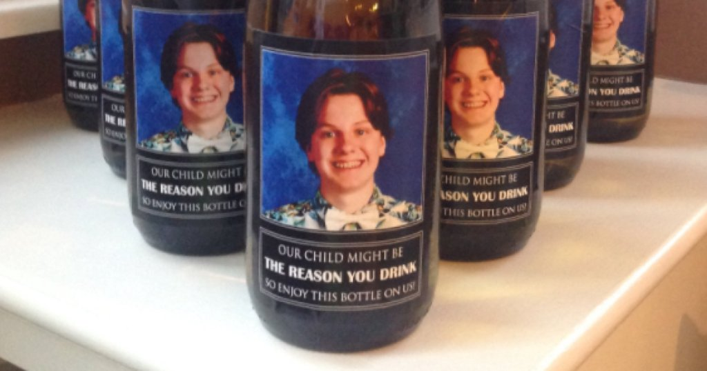 Couple gives teachers wine with their son's picture for Christmas