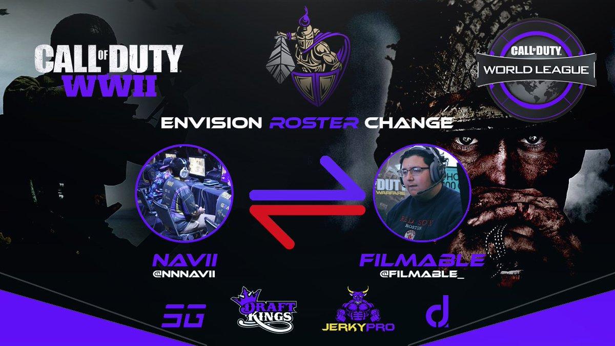 We would like to say farewell to @Filmable_ as we have decided to release him from Envision.  The new fourth to complete our roster for #CWLNOLA will be @NNNavii give him a proper #PurpleEmpire Welcome! https://t.co/Yx6GKKTiRb