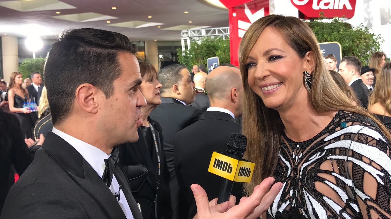 We're chatting with #ITonya star @AllisonBJanney ���� #GoldenGlobes https://t.co/o3XUMPJDFn