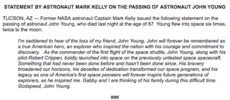 John Young will forever be remembered as a true American hero, an explorer who inspired the nation with his courage and commitment to discovery. Godspeed, John Young. https://t.co/Vo9ZZYlFXM