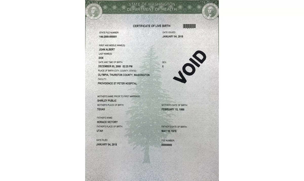 Washington State Offers Third Gender Option On Birth Certificates