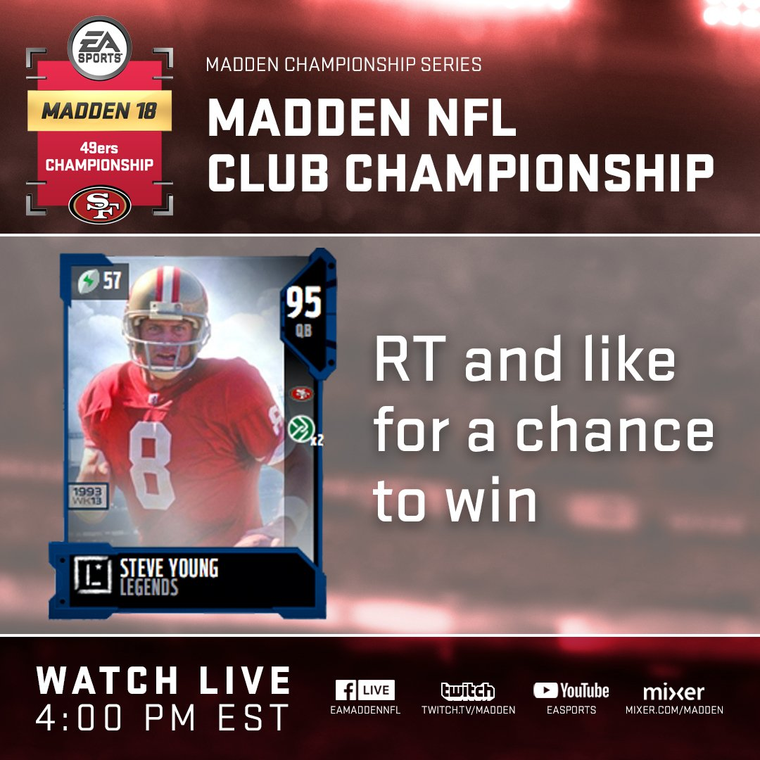 It's time for the @49ers Club Championship!   Watch Now: https://t.co/B45GGW8X2x  #MaddenDrops https://t.co/lVy0bjKD6v
