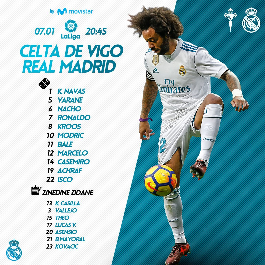 �� Here's tonight's starting XI! Come on lads! ��  #RMMovistar | #RMLiga https://t.co/bZTqeUjOfB