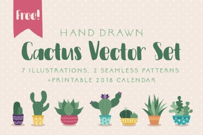 Free Hand-drawn Cactus Vector Set Graphics freebies design SocialMedia