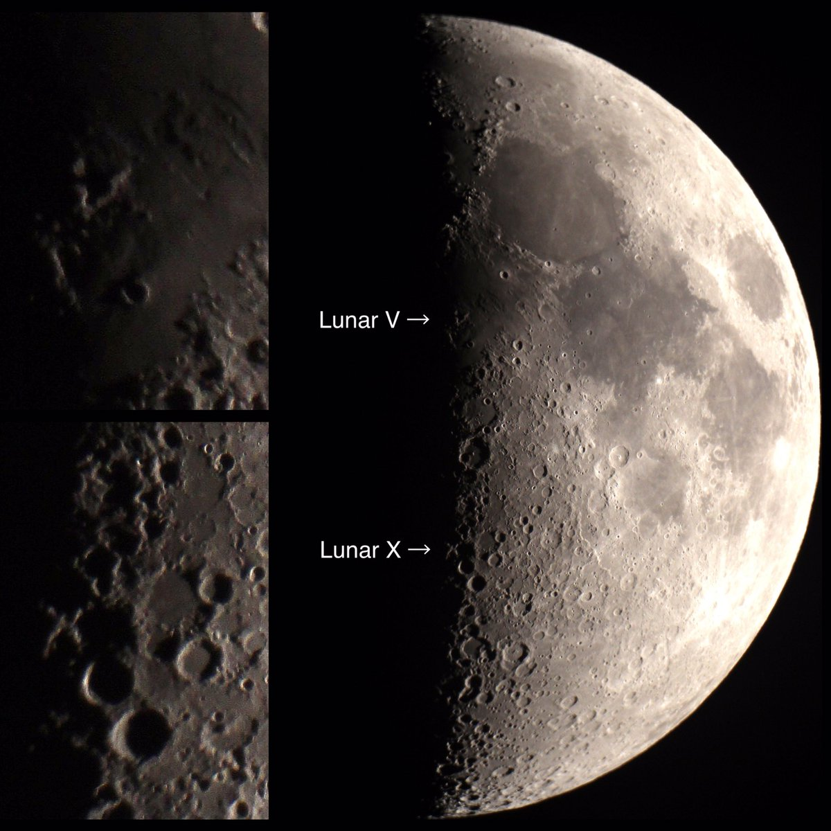 Astro Event: Lunar X and V (shadow features visible only a few hours each month) 7:50 UTC Jan 24 https://t.co/3ncFyULA1E