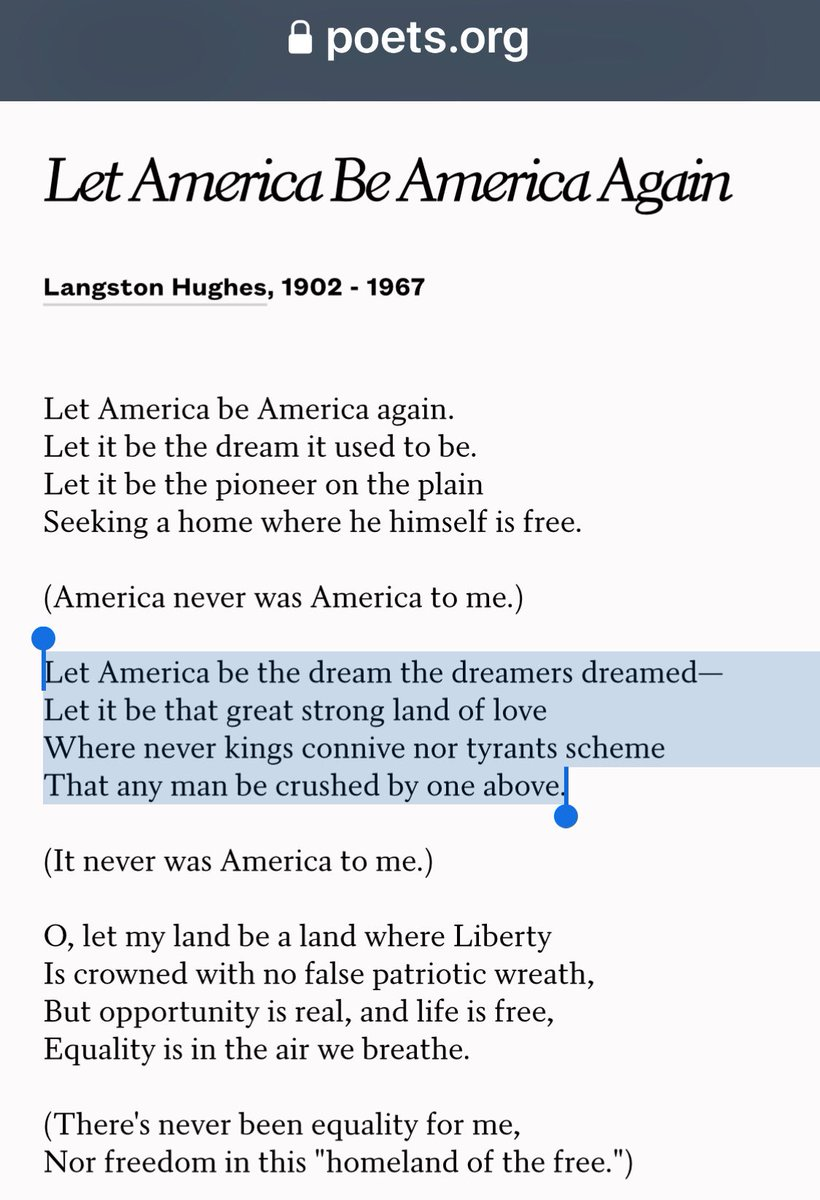 let america be america again langston Let america be america again by langston hughes (abridged) (1936) let america be america again let it be the dream it used to be let it be the pioneer on the plain.
