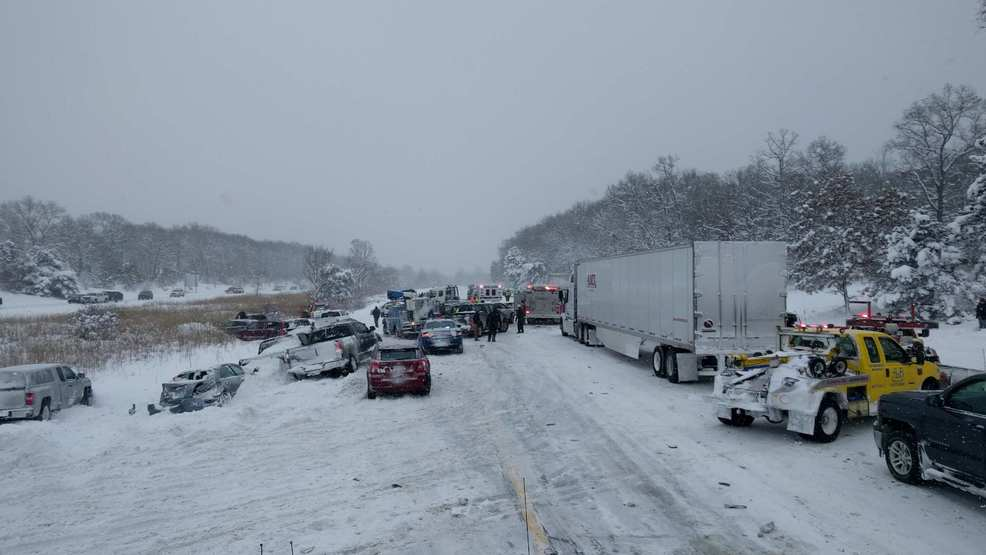 Huge multi-vehicle pileup in Michigan sends cars into river and median