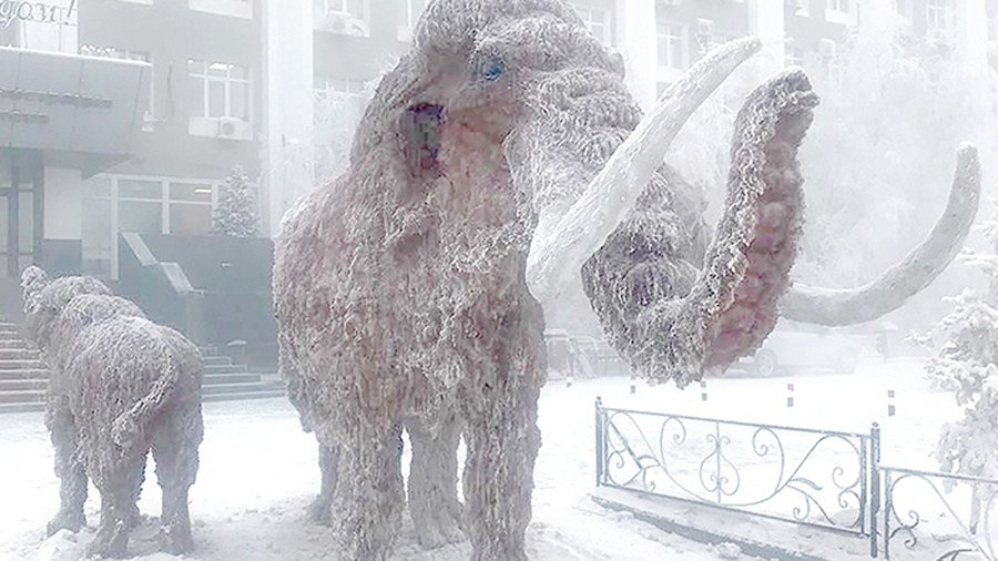 Icy mammoths reappear in Russia's coldest city ahead of New Year (PHOTOS)