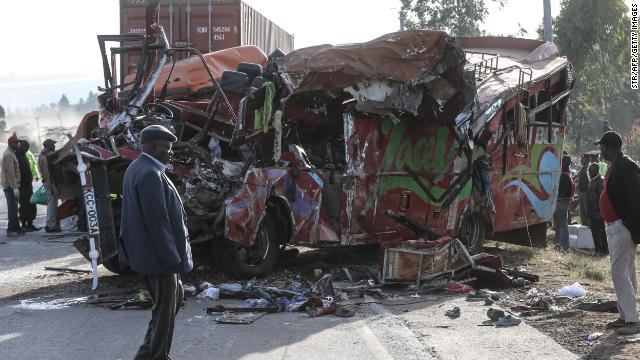 At least 30 people were killed and several others injured in a bus collision in Kenya