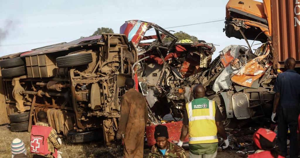 A crash between a truck and a bus in western Kenya has killed at least 36 people, police say