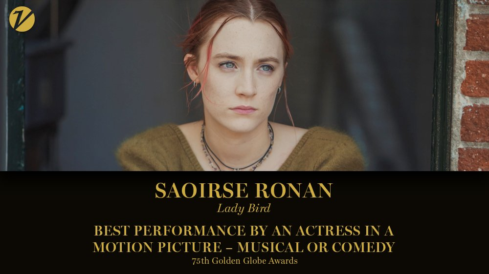 #GoldenGlobes: Saoirse Ronan wins best actress in a film, comedy or musical, for #LadyBird https://t.co/exnrRr8ybl https://t.co/hnlz3vrFxp
