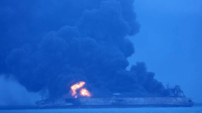Thirty-two missing, oil tanker on fire after collision off China in world's 'new Bermuda Triangle'