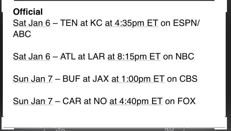 Here are the official playoff matchups with TV and times https://t.co/TEGNAOw5MT