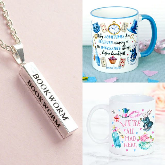 Alice in Wonderland Mugs & Bookworm Necklace Giveaway