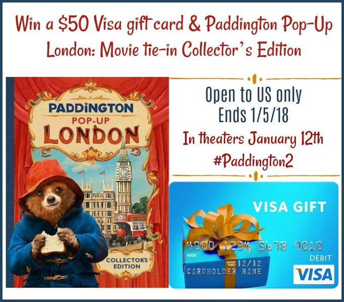 $50 Visa GC and Pop-Up Book-1-US-Ends 1/5/18  #Paddington2