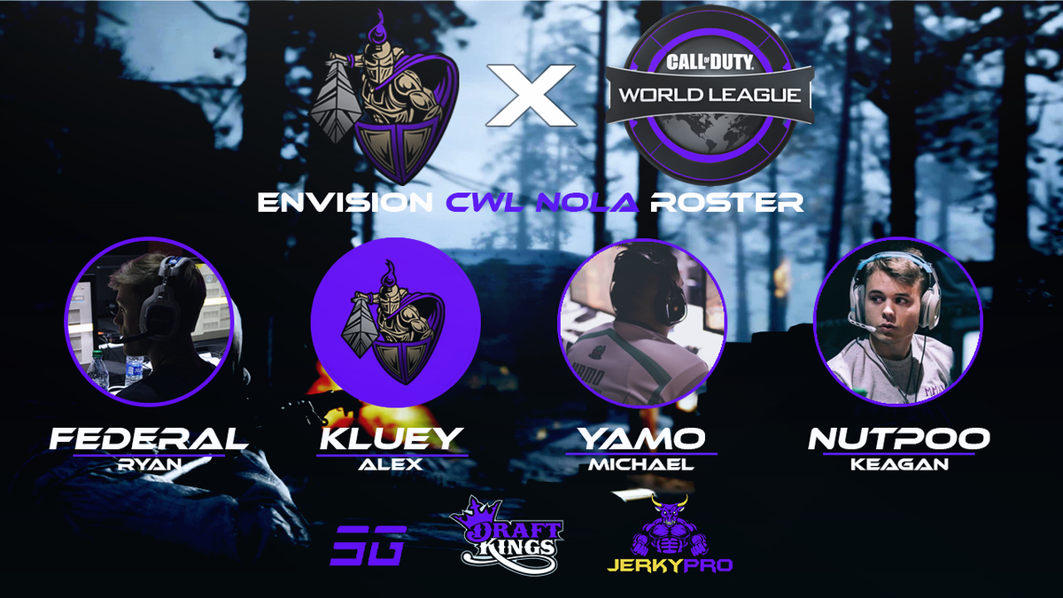 The official #CWLNOLA Envision Roster will be:  @Fedderall (C) @Kluey_ @YamoML @GrandpaNutpoo  #PurpleEmpire https://t.co/fwCkwX2rt0