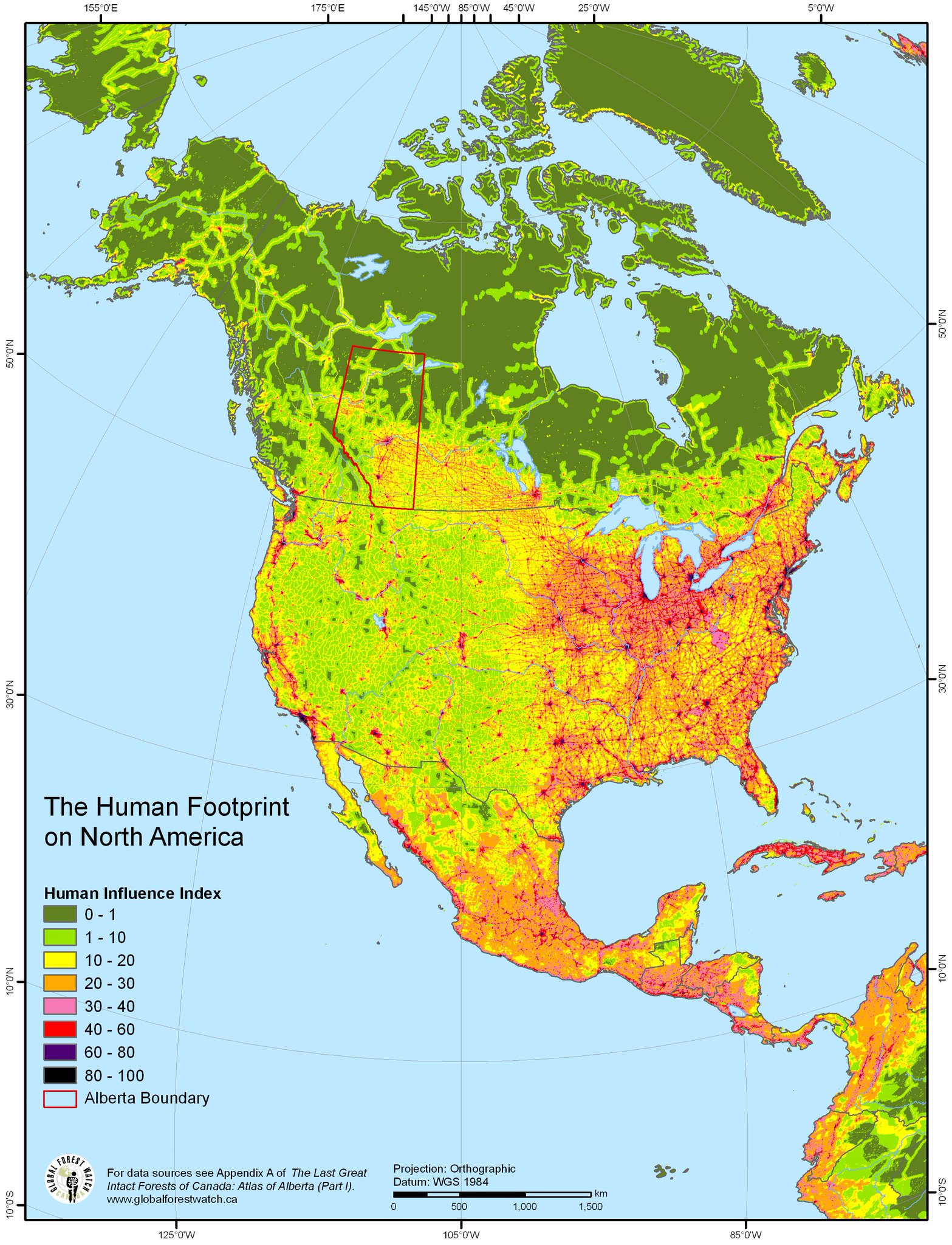 The Human Footprint in North America  #map #maps https://t.co/p9W7FXo33q
