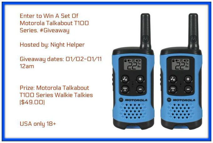 Win A Set Of Motorola Talkabout T100 #Giveaway