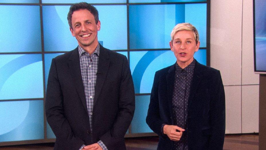 Watch: @TheEllenShow puts @SethMeyers through awards show boot camp