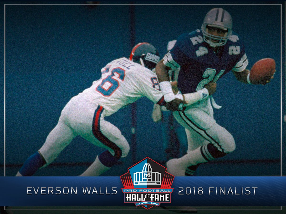 Congratulations to Everson Walls on being named a Modern-Era Finalist for the @ProFootballHOF Class of 2018! https://t.co/yvNhY5PJfh
