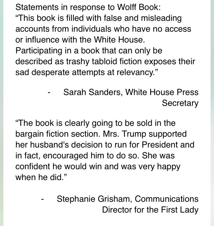 New statements from @PressSec and @StephGrisham45 on Wolff book https://t.co/5hCwiM3FDf